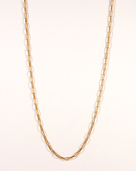 GM522-2 ICYMI Collier maillons allongés en or jaune - Gold long links vintage necklace