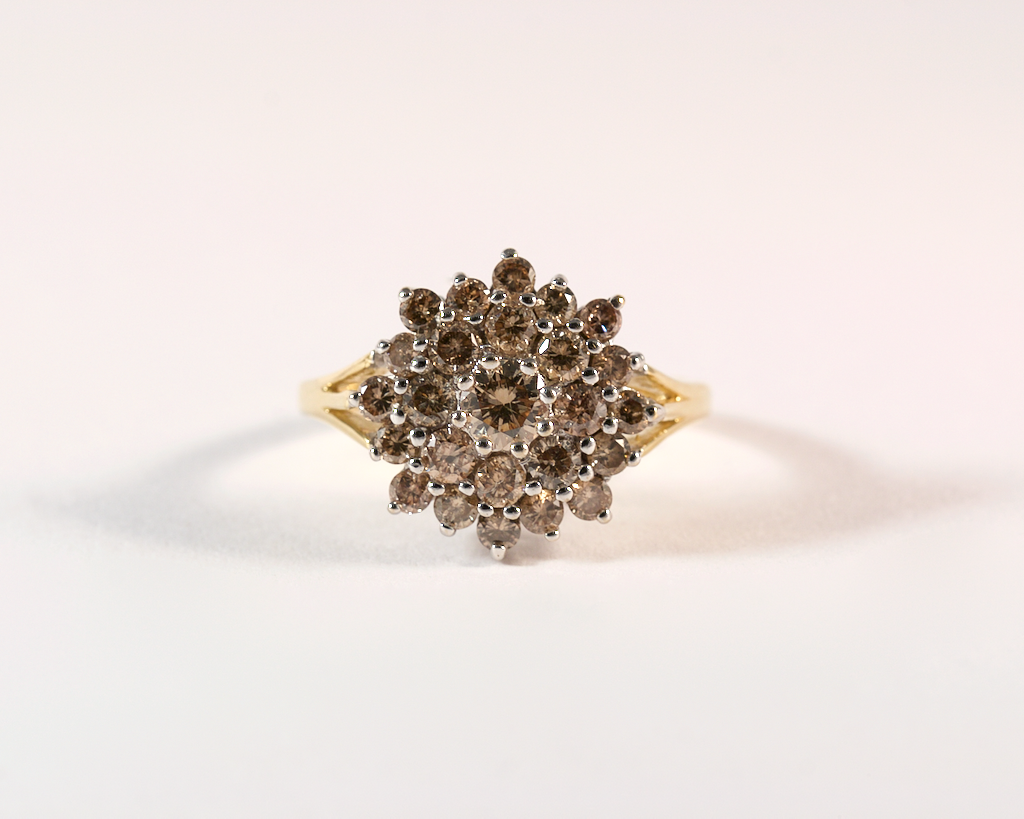 GM525 ICYMI Bague fleur or jaune et diamants de couleur - Gold and colored diamond flower ring
