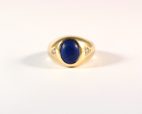 GM531-2 ICYMI Bague chevalière or jaune lapis lazuli et diamants - Gold lapis and diamond signet vintage antique ring