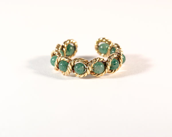 GM533 ICYMI Bague torsade or jaune et pierres vertes - Gold and green stones braided ring