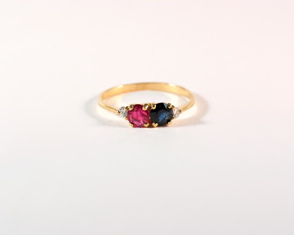 GM540-1 ICYMI Bague or jaune saphir rubis et diamants - Gold ruby sapphire and diamond vintage ring