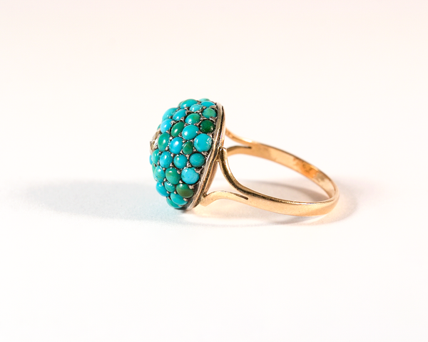 GM540-2 ICYMI Bague boule or rose argent turquoises et diamant - Gold silver diamond and turquoise dome ring