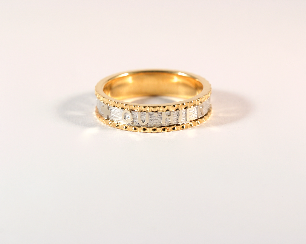 GM540-3 ICYMI Alliance deux ors Augis plus qu'hier moins que demain - Two toned gold wedding love ring