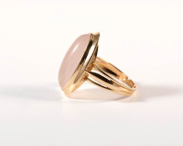 GM541-5 ICYMI Bague ancienne or jaune et quartz rose - Gold and pink quartz vintage ring