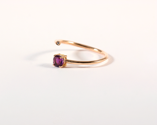GM542-5 ICYMI Bague or rose ouverte améthyste et diamant - Pink gold amethyst and diamond open ring