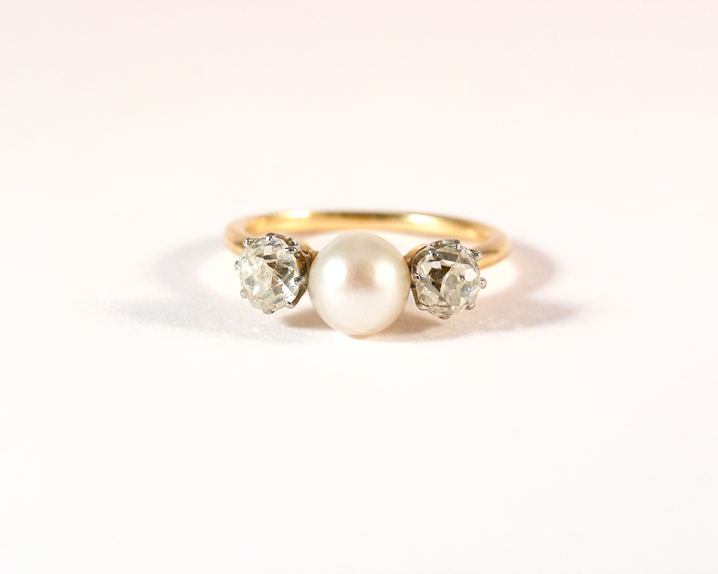 GM547-3 ICYMI Bague ancienne or jaune platine perle diamants taille ancienne - Gold platinum pearl diamond vintage antique ring
