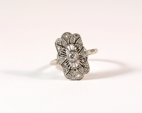 GM551bis-1 ICYMI Bague art déco ancienne or platine et diamants - Gold platinum and diamond antique vintage ring