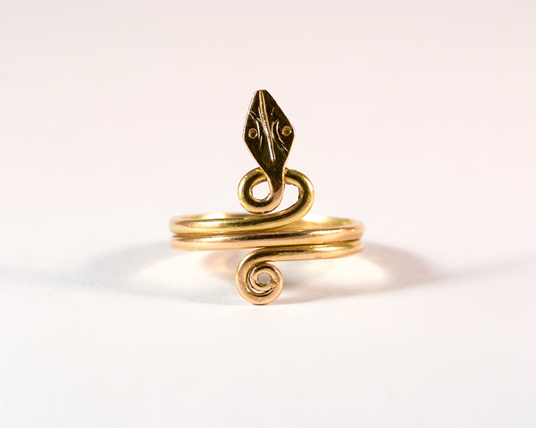 GM552 ICYMI Bague ancienne serpent en or jaune - Gold vintage antique snake ring