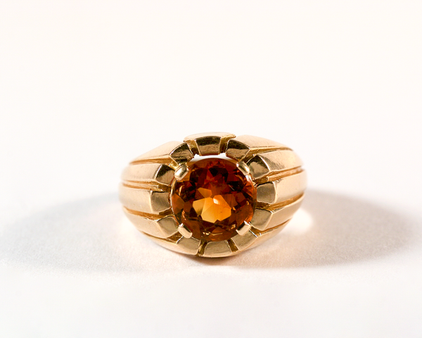 GM559-2 ICYMI Bague bombée or jaune et citrine ronde - Vintage gold and citrine ring