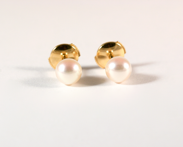 GM576-2 ICYMI Paire de puces or jaune et perle de culture - Gold and pearl studs