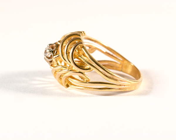 GM578-1 Bague ancienne or jaune et diamant taille ancienne - Yellow gold and old cut diamond vintage antique ring