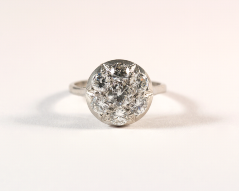 GM580 ICYMI Bague ancienne ronde diamants platine - Vintage antique platinum diamond ring