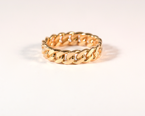 GM581-3 ICYMI Bague ancienne or jaune maille gourmette - Vintage antique gold link ring