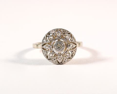 GM600 ICYMI Bague ancienne 1900 ronde or platine et diamants - Gold platinum and diamond vintage round ring