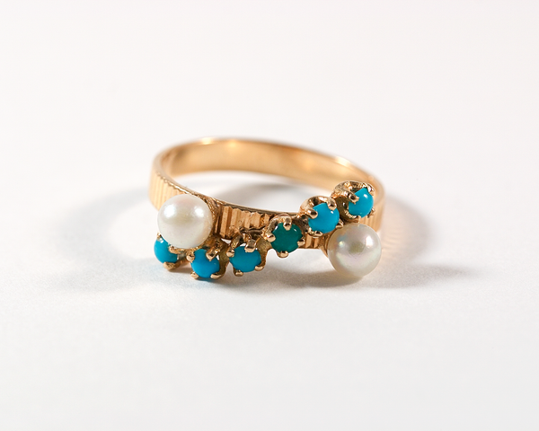 Bague volute or, perle et turquoise