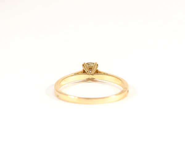 Solitaire diamant taille ancienne or jaune