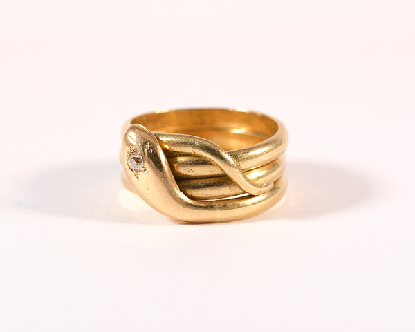 Bague serpent en or jaune et diamant