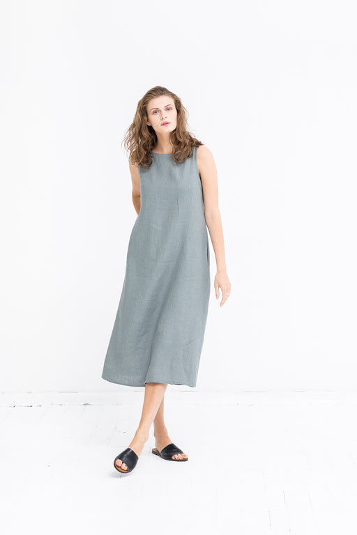 The Penelope linen dress (greyish green)
