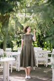 The Annabelle linen romantic dress (olive green)
