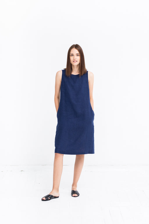 The Jackie linen dress (dark blue)