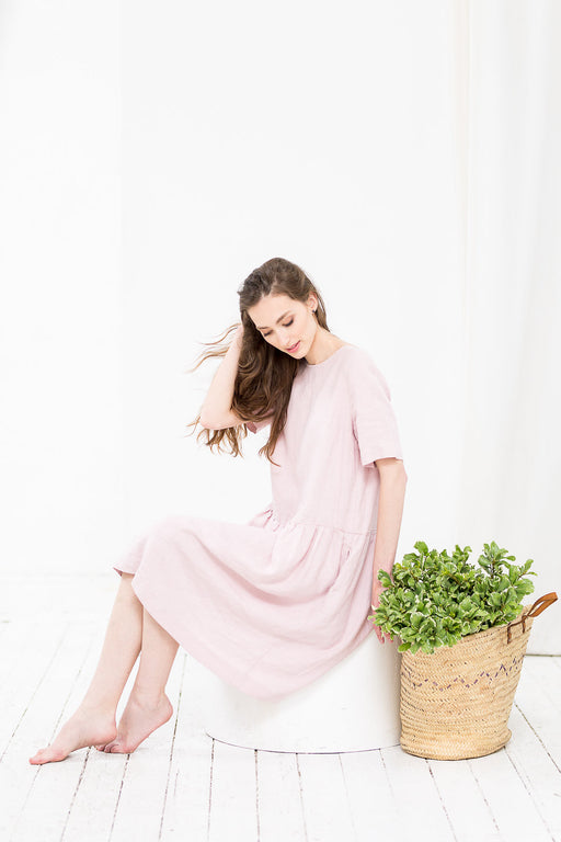 The Eleanor linen dress (light pink)