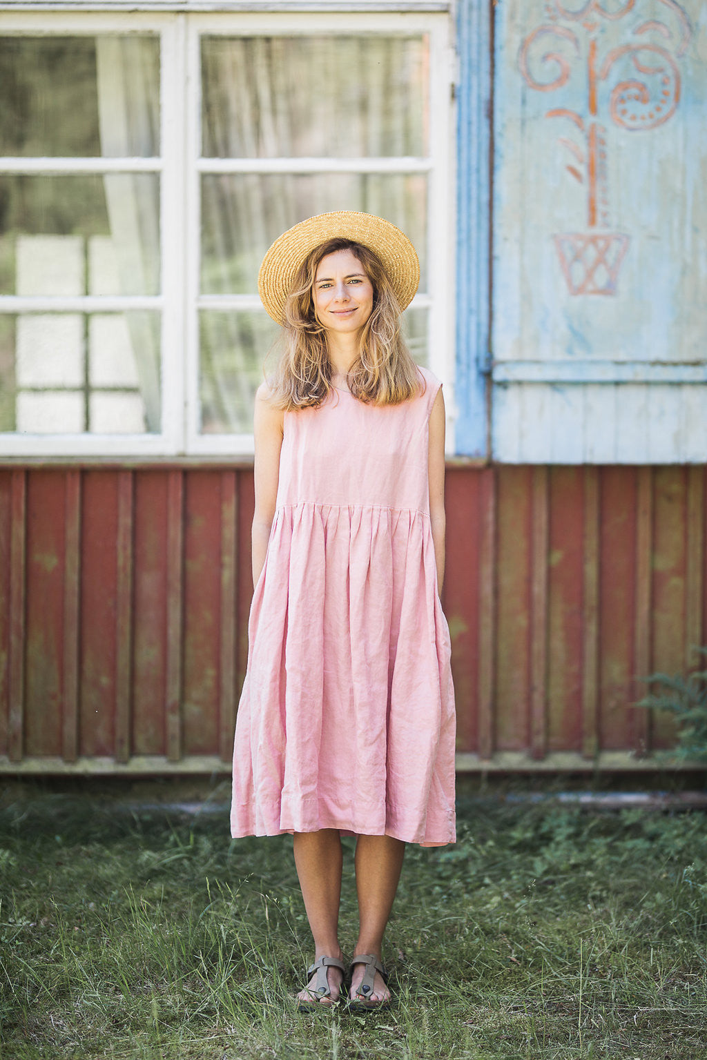 The Alisha linen romantic smock dress (rose pink)