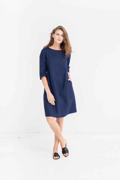 The Scarlet linen dress (dark blue)