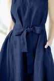 The Adele linen dress (dark blue)