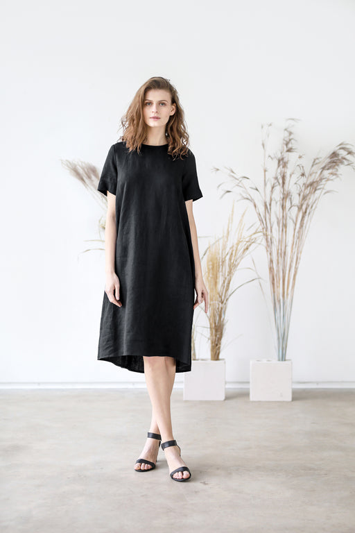 The Giselle linen dress (black)