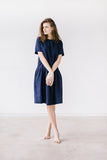 The Eleanor linen dress (dark blue)