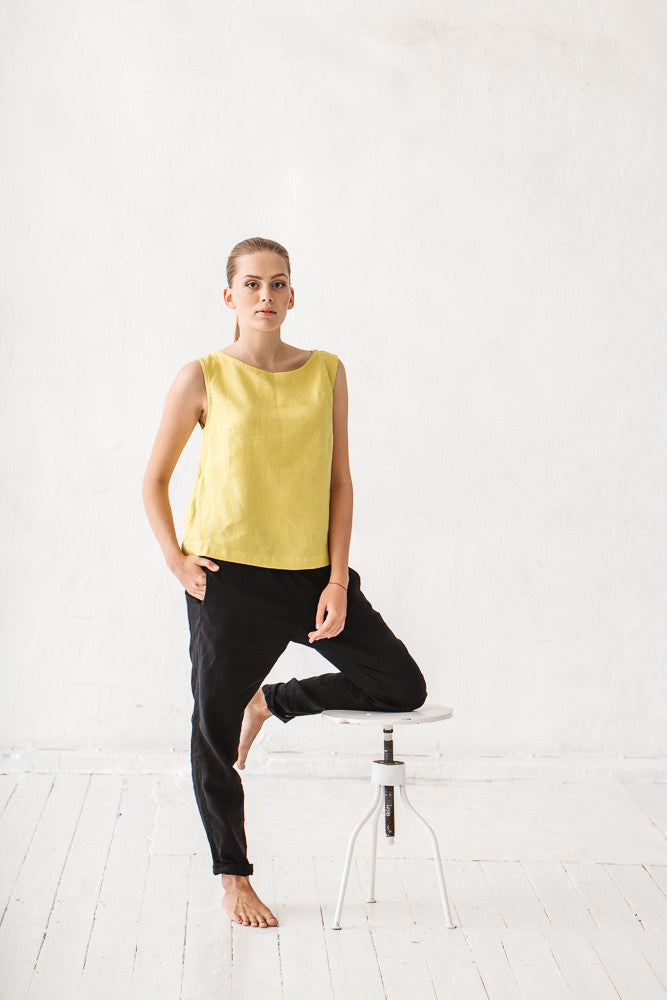 The Hailey basic linen top (lime yellow)
