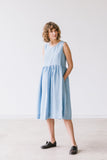 The Alisha linen romantic smock dress (skyblue)