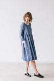 The Bethany linen romantic smock dress (grey blue)