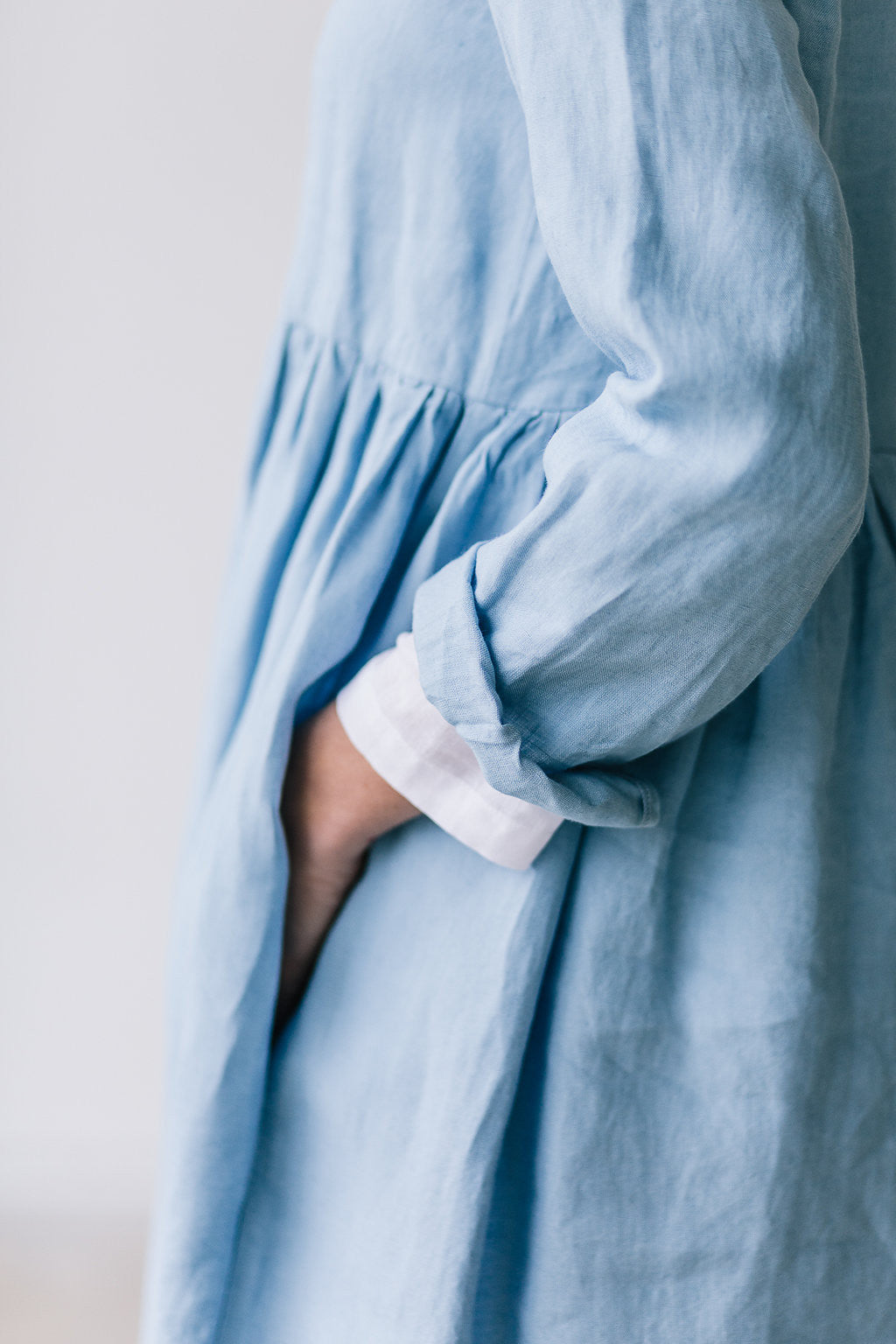 The Bethany linen romantic smock dress (sky blue)