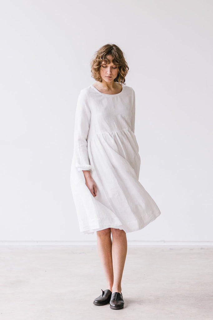The Bethany linen romantic smock dress (white)