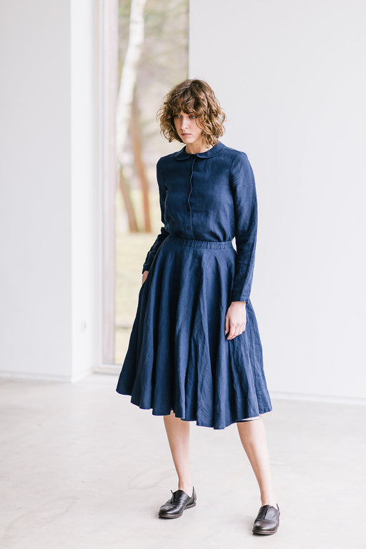 The Blair linen classic skirt (navy blue)