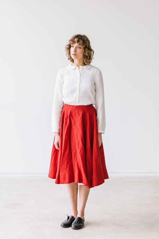 The Blair linen classic skirt (red)