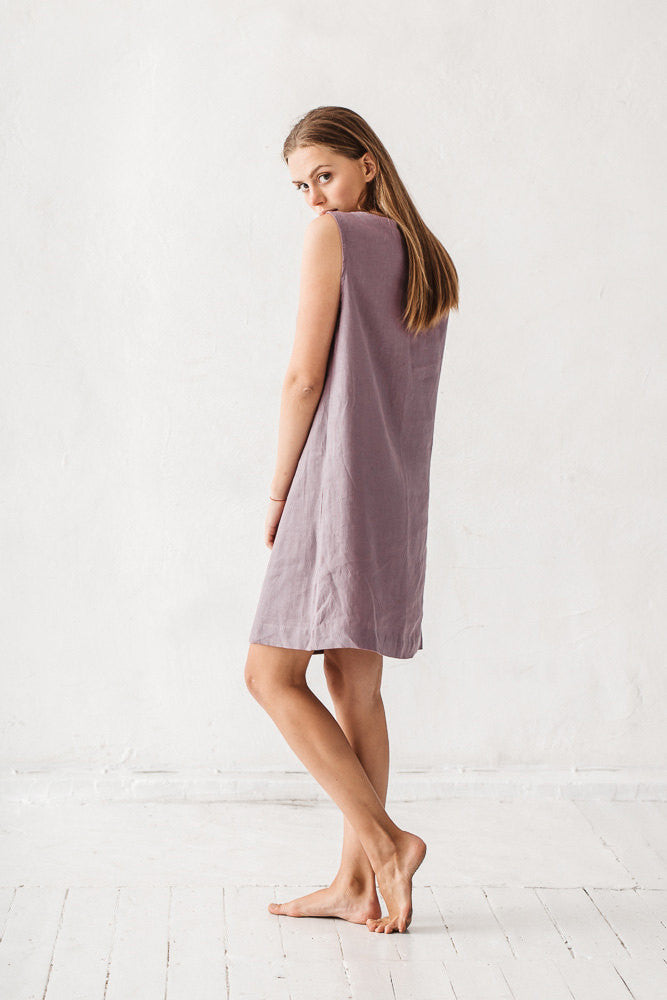 The Ayesha linen dress (dusty lavender)