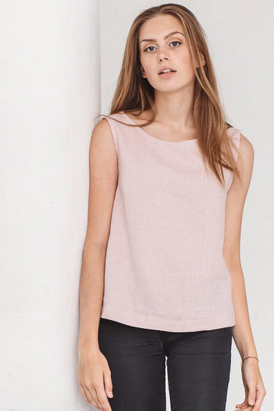 The Hailey basic linen top (dusty pink)