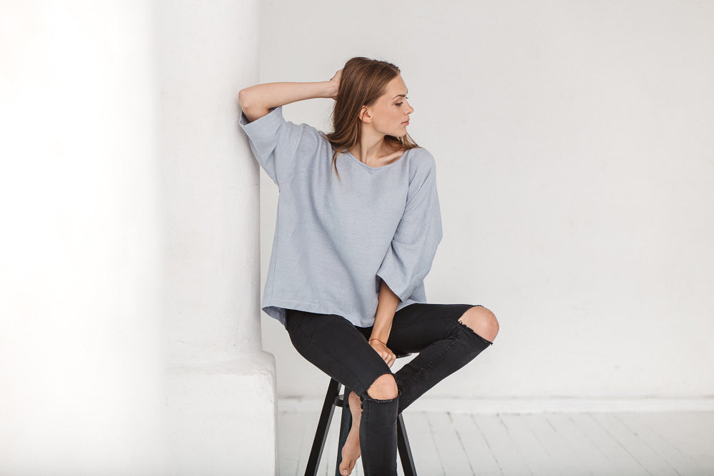 The Claudia linen tunic (dusty blue)