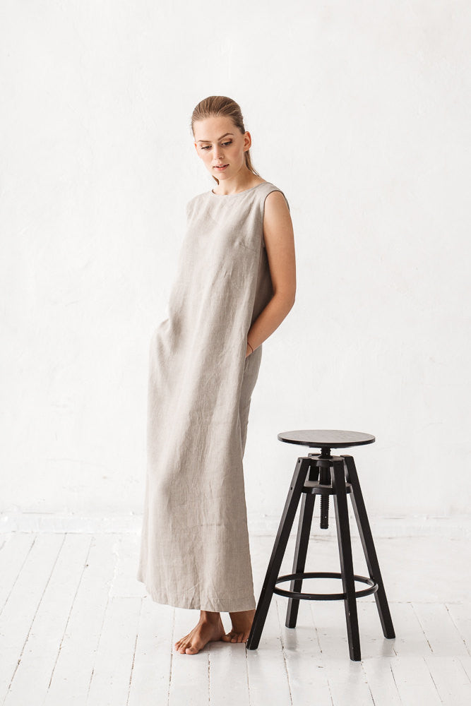 The Amber linen dress (natural linen grey)