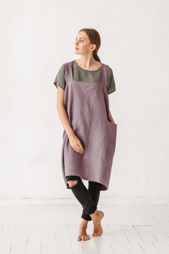The Kyra linen pinafore japanese cross back apron (dusty lavender)