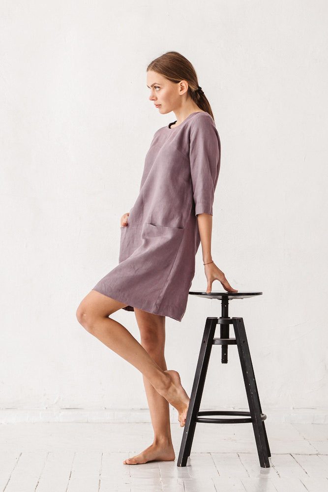 The Alfreda linen dress (dusty lavender)