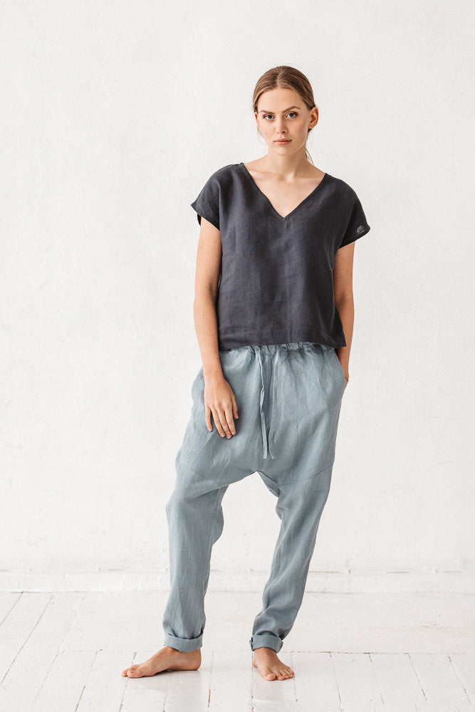 The Emelyn linen pants (sea green)