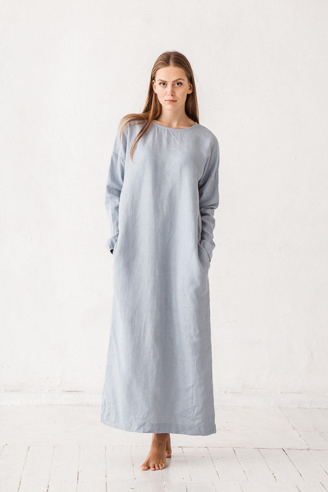 The Britney linen dress (dusty blue)