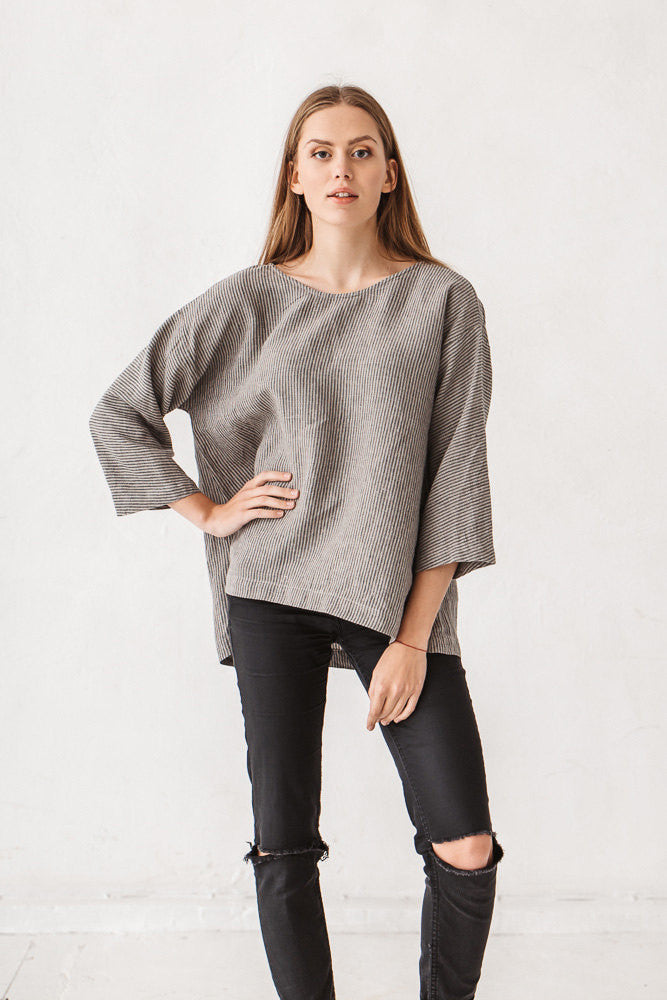 The Claudia linen tunic (natural grey strips)