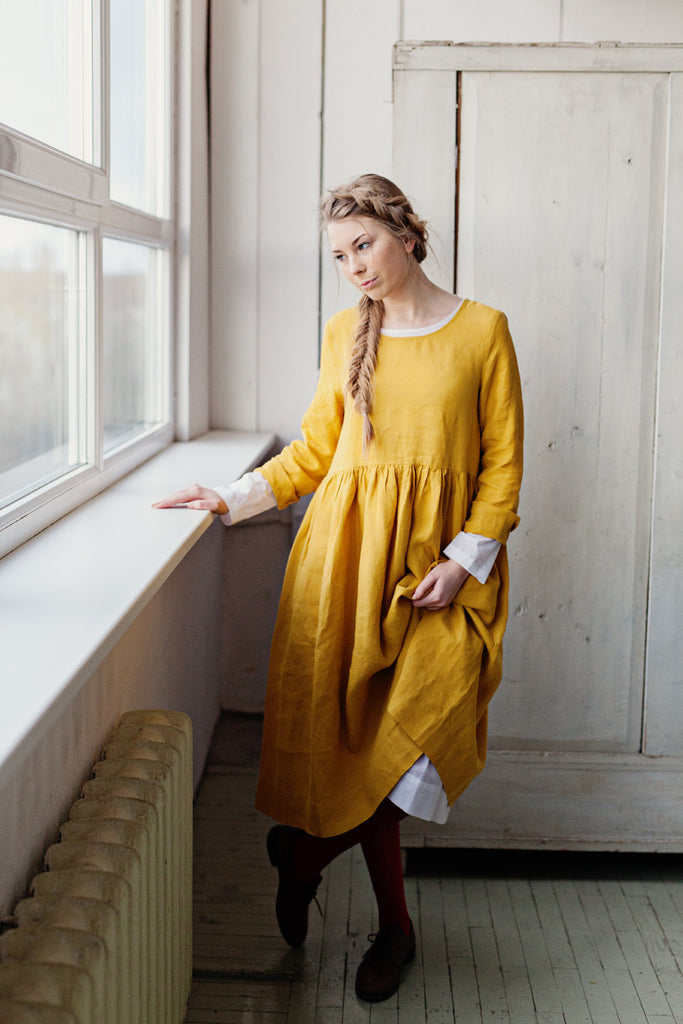 The Bethany linen romantic smock dress (yellow daffodil)