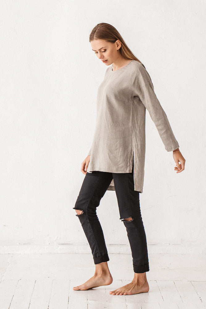 The Charlie linen tunic (natural linen grey)