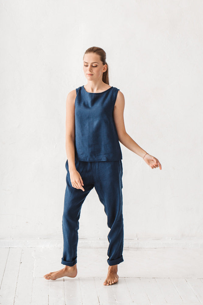 The Bettina linen pants (navy blue)
