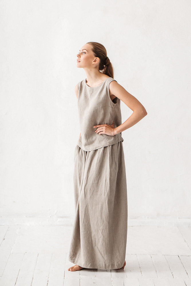 The Ariana linen skirt (natural linen grey)